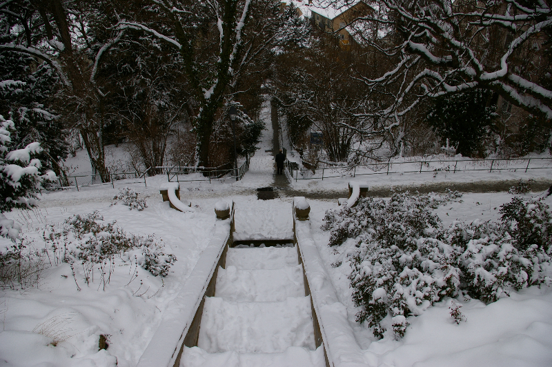 Eugensstaffel Galateabrunnen im Winter