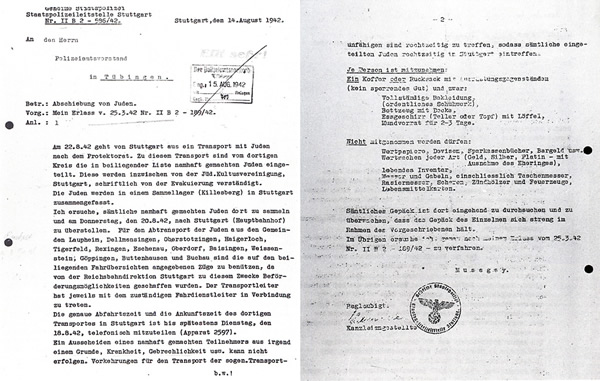 Anordnung Abschiebung von Juden. Deportation